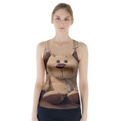 Stuffed Animal Fabric Dog Brown Racer Back Sports Top