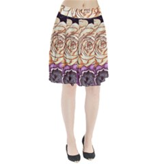 Texture Flower Pattern Fabric Design Pleated Skirt by AnjaniArt