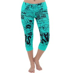 Typography Illustration Chaos Capri Yoga Leggings