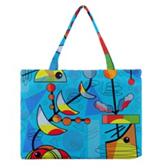Happy Day   Blue Medium Zipper Tote Bag by Valentinaart