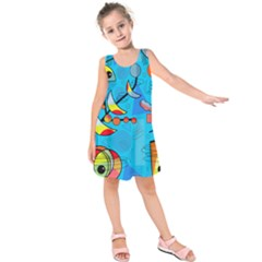 Happy Day   Blue Kids  Sleeveless Dress by Valentinaart