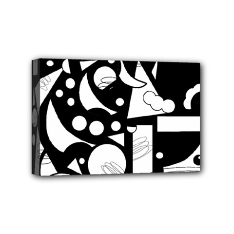 Happy Day   Black And White Mini Canvas 6  X 4  by Valentinaart