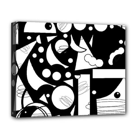 Happy Day   Black And White Deluxe Canvas 20  X 16   by Valentinaart