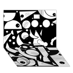 Happy Day   Black And White Circle Bottom 3d Greeting Card (7x5) by Valentinaart