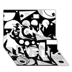 Happy Day   Black And White Get Well 3d Greeting Card (7x5) by Valentinaart