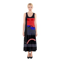 Geometrical Abstraction Sleeveless Maxi Dress