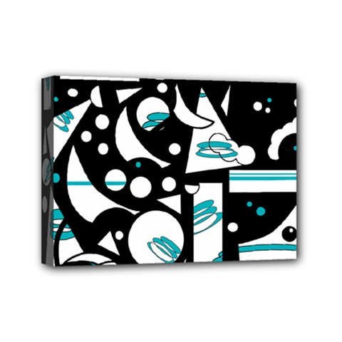 Happy Life   Blue Mini Canvas 7  X 5  by Valentinaart