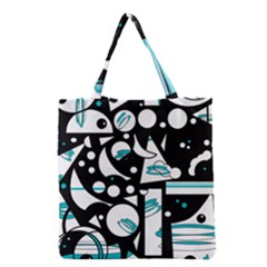 Happy Life   Blue Grocery Tote Bag by Valentinaart