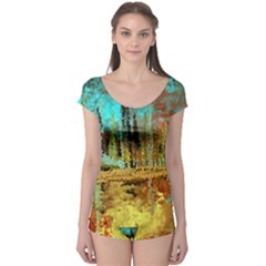 Autumn Landscape Impressionistic Design Boyleg Leotard  by digitaldivadesigns