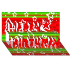 Christmas Pattern Happy Birthday 3d Greeting Card (8x4) by Valentinaart