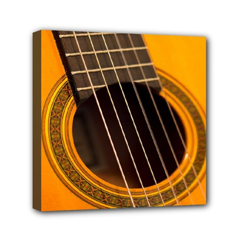 Vintage Guitar Acustic Mini Canvas 6  X 6  by AnjaniArt