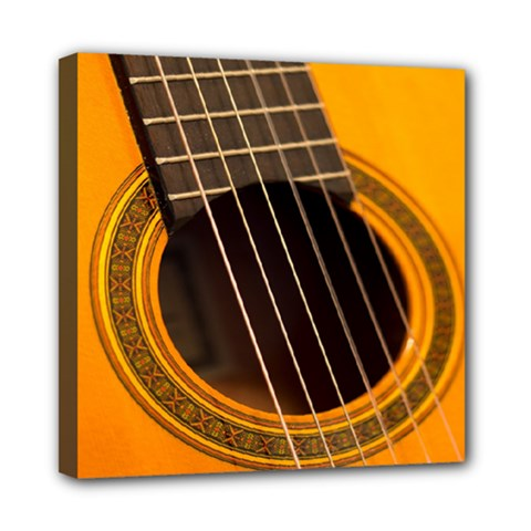 Vintage Guitar Acustic Mini Canvas 8  X 8  by AnjaniArt