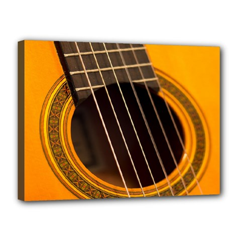 Vintage Guitar Acustic Canvas 16  X 12  by AnjaniArt