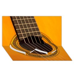 Vintage Guitar Acustic Twin Heart Bottom 3d Greeting Card (8x4) by AnjaniArt