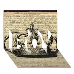 Vintage Music Sheet Crown Song Boy 3d Greeting Card (7x5)