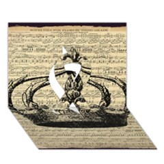Vintage Music Sheet Crown Song Ribbon 3d Greeting Card (7x5) by AnjaniArt