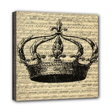 Vintage Music Sheet Crown Song Mini Canvas 8  X 8  by AnjaniArt