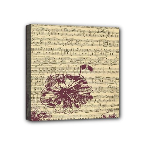 Vintage Music Sheet Song Musical Mini Canvas 4  X 4  by AnjaniArt