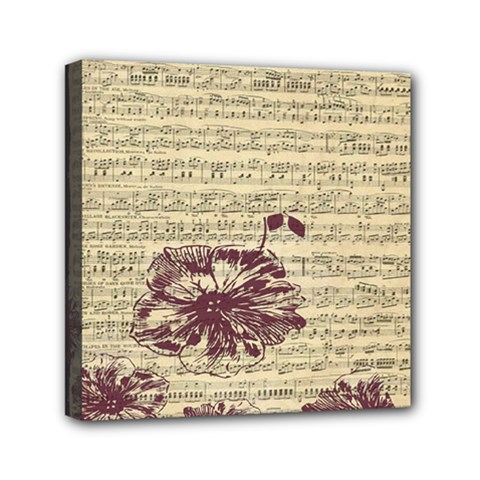 Vintage Music Sheet Song Musical Mini Canvas 6  X 6  by AnjaniArt
