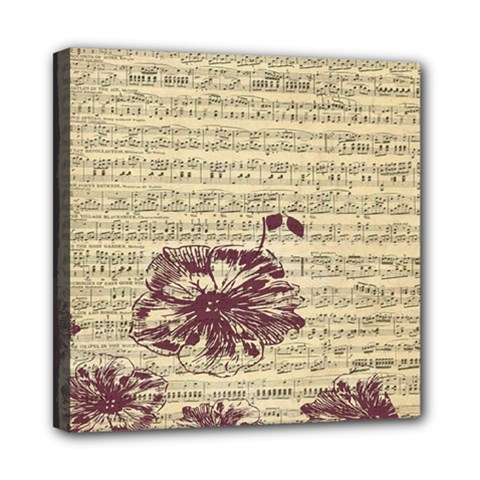Vintage Music Sheet Song Musical Mini Canvas 8  X 8  by AnjaniArt