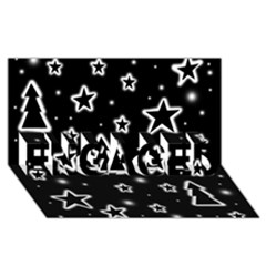 Black And White Xmas Engaged 3d Greeting Card (8x4) by Valentinaart