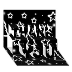 Black And White Xmas Thank You 3d Greeting Card (7x5) by Valentinaart