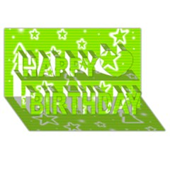 Green Christmas Happy Birthday 3d Greeting Card (8x4) by Valentinaart