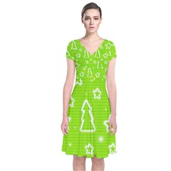 Green Christmas Short Sleeve Front Wrap Dress