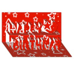 Red Xmas Happy Birthday 3d Greeting Card (8x4) by Valentinaart