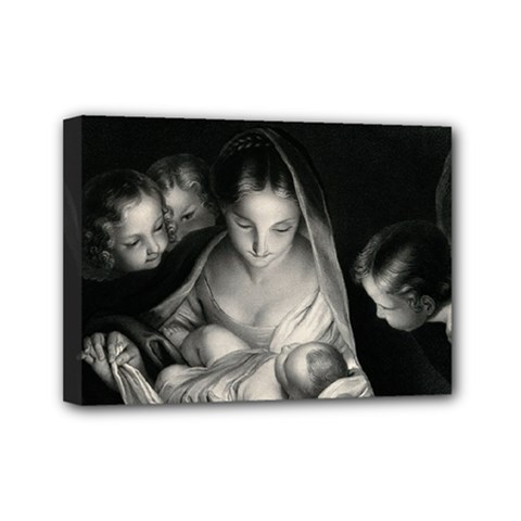 Nativity Scene Birth Of Jesus With Virgin Mary And Angels Black And White Litograph Mini Canvas 7  X 5  by yoursparklingshop