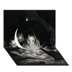 Nativity Scene Birth Of Jesus With Virgin Mary And Angels Black And White Litograph Circle 3d Greeting Card (7x5) by yoursparklingshop