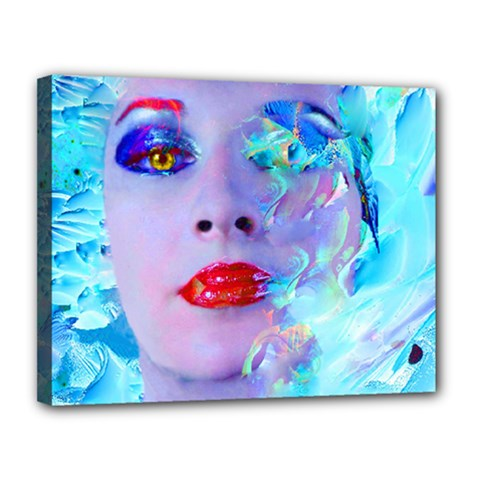 Swimming Into The Blue Canvas 14  X 11  by icarusismartdesigns