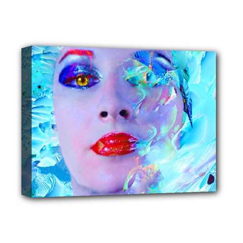 Swimming Into The Blue Deluxe Canvas 16  X 12   by icarusismartdesigns