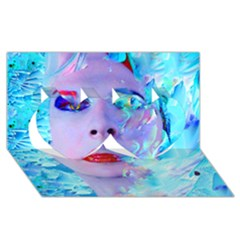 Swimming Into The Blue Twin Hearts 3d Greeting Card (8x4)