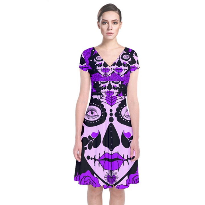 Sugar Skull Purple Roses Short Sleeve Front Wrap Dress Cowcow