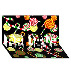 Xmas Candies  Believe 3d Greeting Card (8x4) by Valentinaart