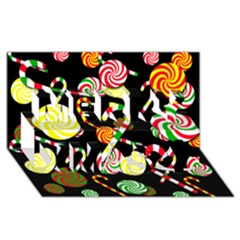 Xmas Candies  Merry Xmas 3d Greeting Card (8x4) by Valentinaart