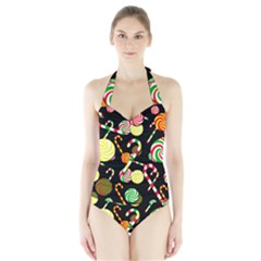 Xmas Candies  Halter Swimsuit by Valentinaart