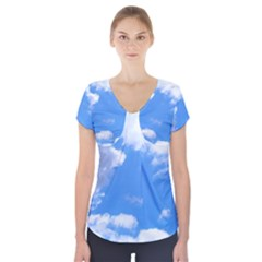 Clouds And Blue Sky Short Sleeve Front Detail Top by picsaspassion