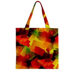 Indian Summer Cubes Zipper Grocery Tote Bag by designworld65