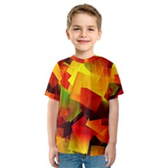 Indian Summer Cubes Kids  Sport Mesh Tee by designworld65