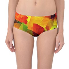 Indian Summer Cubes Mid Waist Bikini Bottoms by designworld65