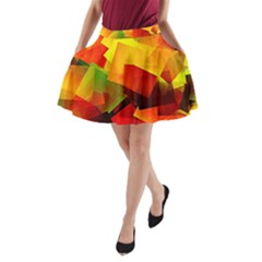 Indian Summer Cubes A Line Pocket Skirt by designworld65