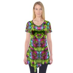 Freedom In Colors And Floral Short Sleeve Tunic