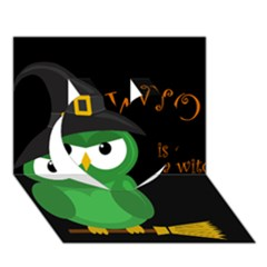 Who Is A Witch?   Green Heart 3d Greeting Card (7x5) by Valentinaart