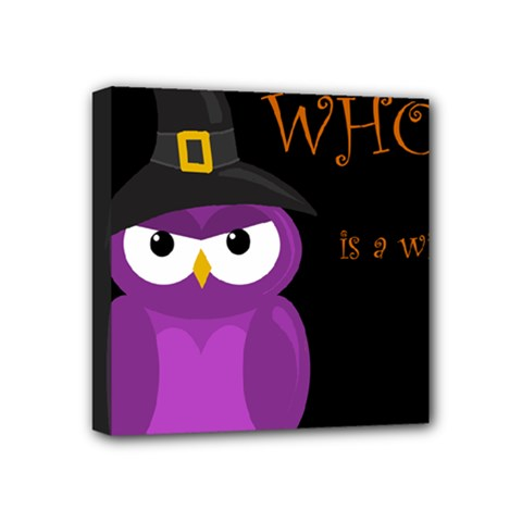Who Is A Witch?   Purple Mini Canvas 4  X 4  by Valentinaart