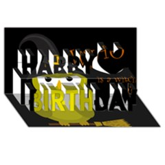 Who Is A Witch?   Yellow Happy Birthday 3d Greeting Card (8x4) by Valentinaart