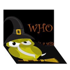 Who Is A Witch?   Yellow Circle Bottom 3d Greeting Card (7x5) by Valentinaart