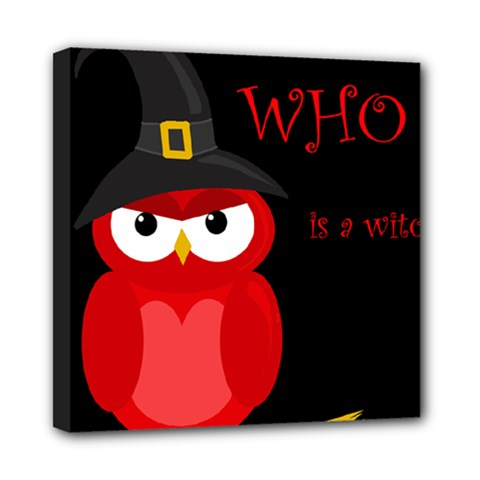 Who Is A Witch?   Red Mini Canvas 8  X 8  by Valentinaart