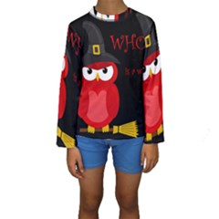 Who Is A Witch?   Red Kids  Long Sleeve Swimwear